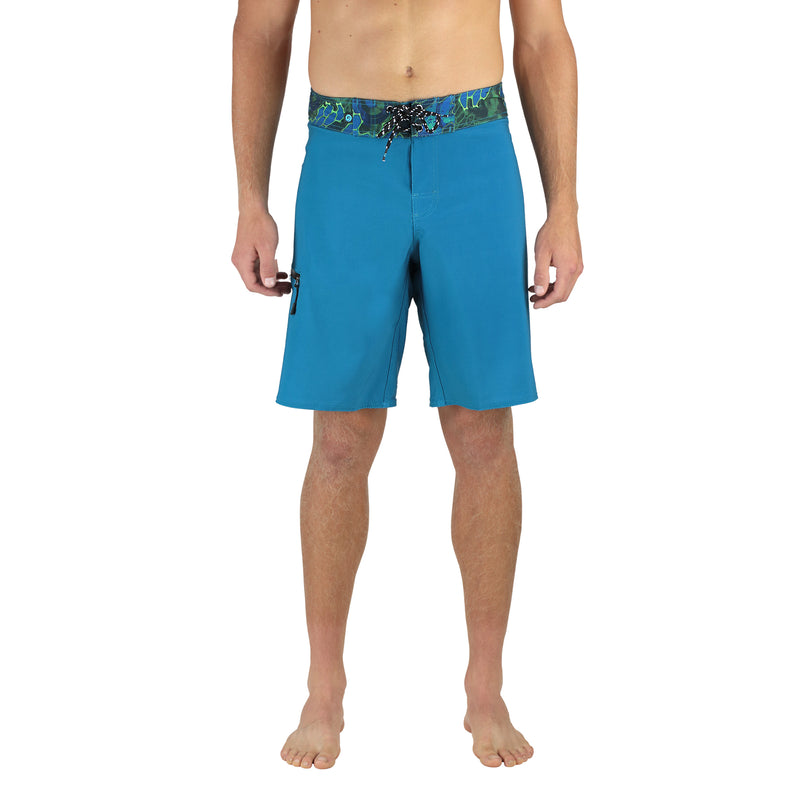 "Abyss 20"" Men's Boardshorts in Aqua, Quick Drying Stretch Swimwear, Model Front"