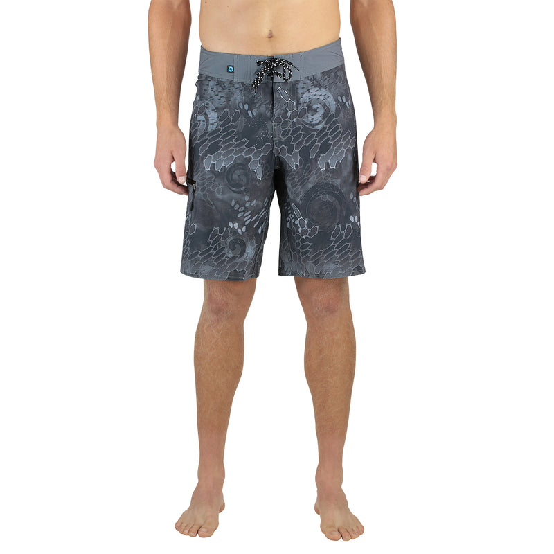 "Blue & Gray Men's 20"" Boardshorts, Quick Drying Stretch Swimwear, Model Front"
