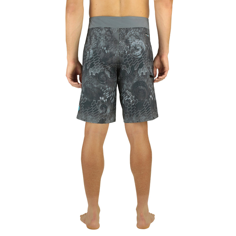 "Blue & Gray Men's 20"" Boardshorts, Quick Drying Stretch Swimwear, Model Back"