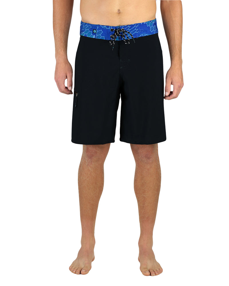 "20"" Men's Boardshorts in Black & Blue, Performance Fit Swim Trunks, Model Front"