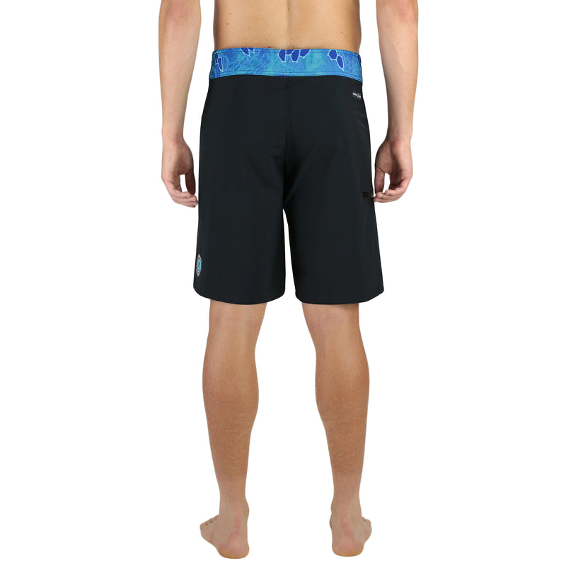 "20"" Men's Boardshorts in Black & Blue, Performance Fit Swim Trunks, Model Back"