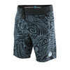 "22"" EXTRA LONG BOARDSHORTS, POLYNESIAN TRIBAL PRINT, BLACK & GRAY"