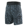 "22"" EXTRA LONG BOARDSHORTS, POLYNESIAN TRIBAL PRINT, BLACK & GRAY, BACK"