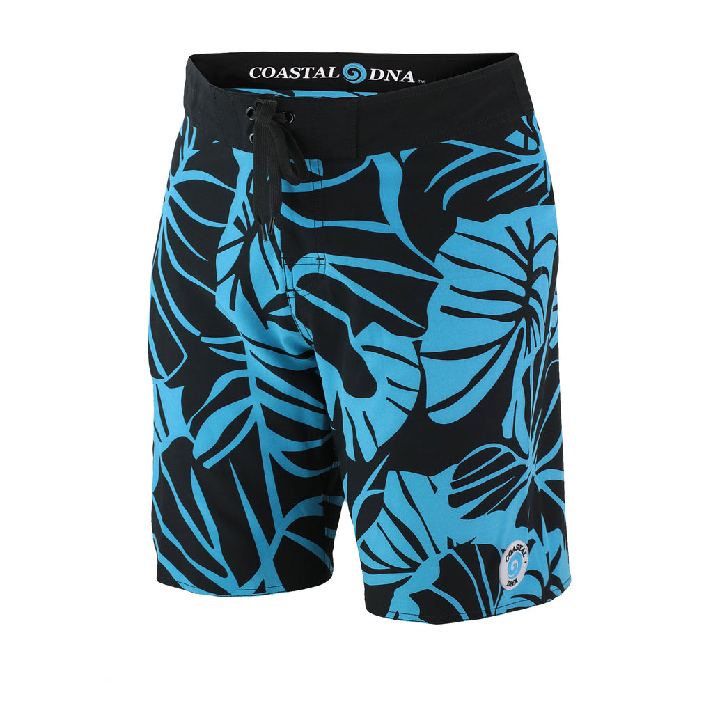 "FIJI 22"" MEN'S BOARDSHORTS POLYNESIAN, BLUE & BLACK LEAF PRINT"