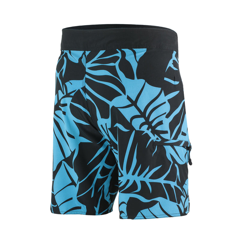 "FIJI 22"" MEN'S BOARDSHORTS POLYNESIAN, BLUE & BLACK LEAF PRINT, BACK"