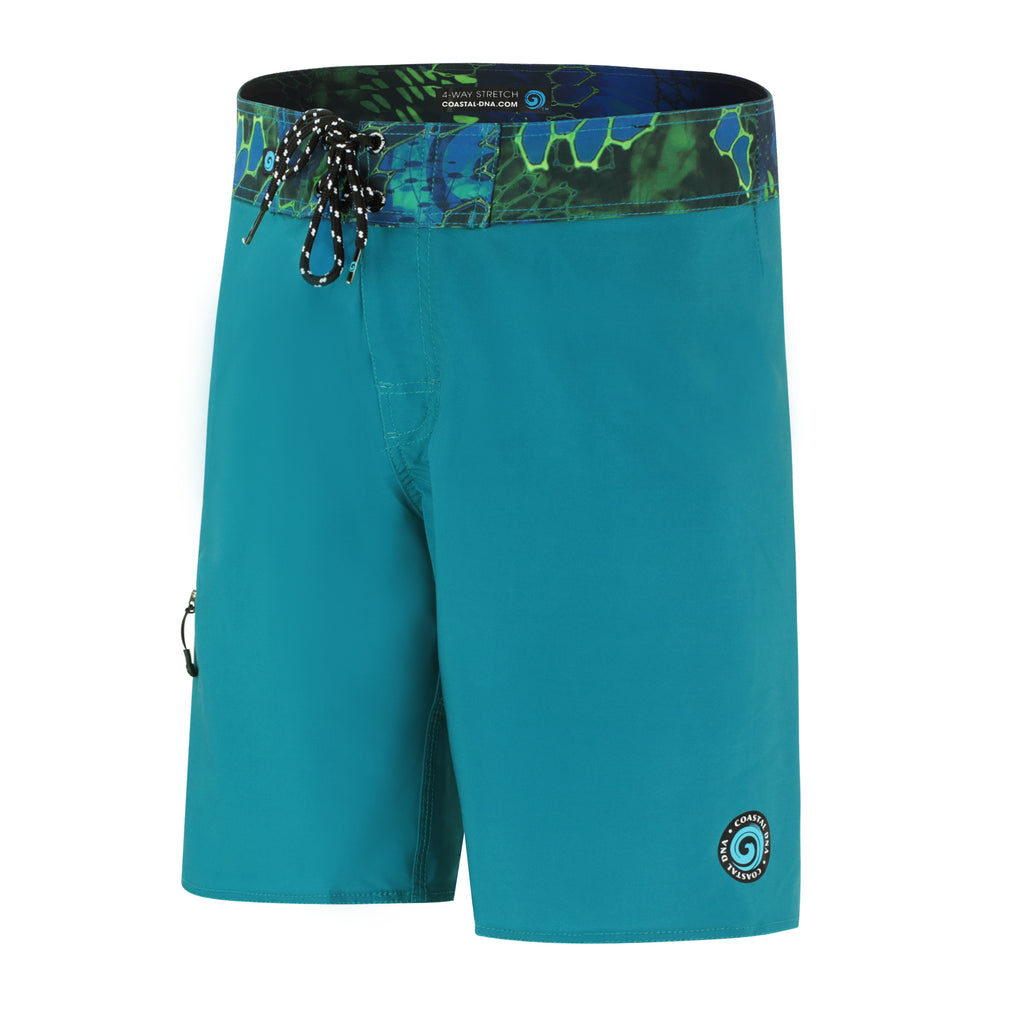 "Abyss 20"" Men's Boardshorts in Aqua, Quick Drying Stretch Swimwear"