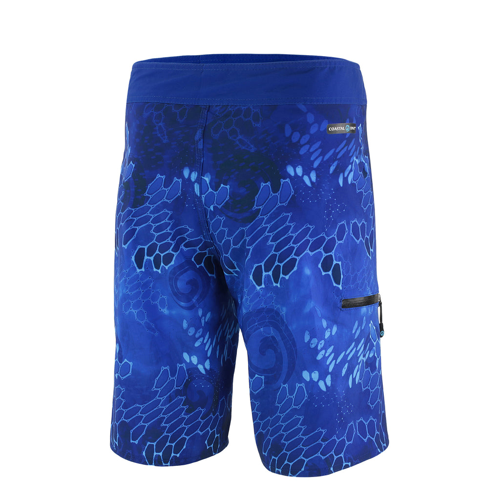 "DNA BLUE 20"" MEN'S BOARDSHORTS, SURF SWIM TRUNKS, FISHING SHORTS, BACK"