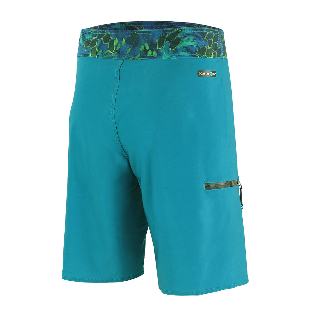 "Abyss 20"" Men's Boardshorts in Aqua, Quick Drying Stretch Swimwear, Back"