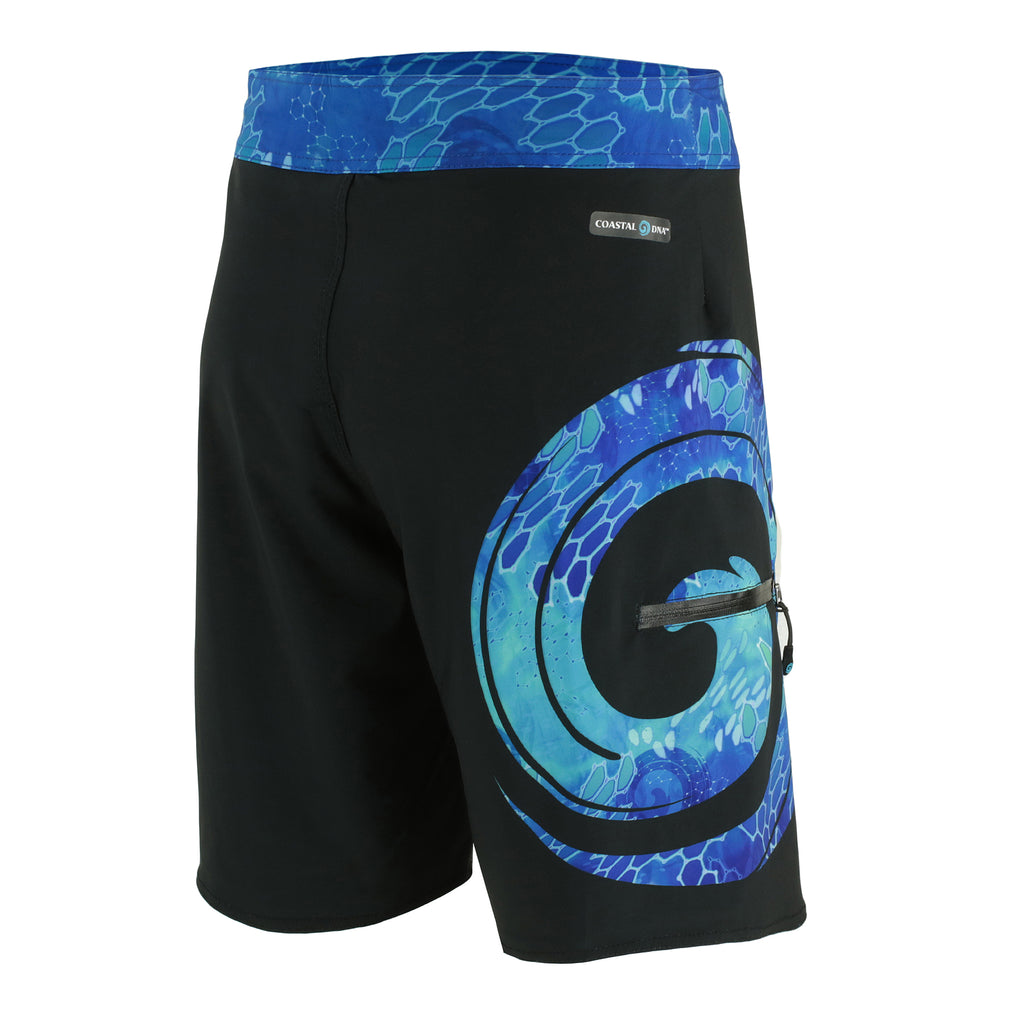 "20"" MEN'S BOARDSHORTS IN BLACK & BLUE WAVE PATTERN"
