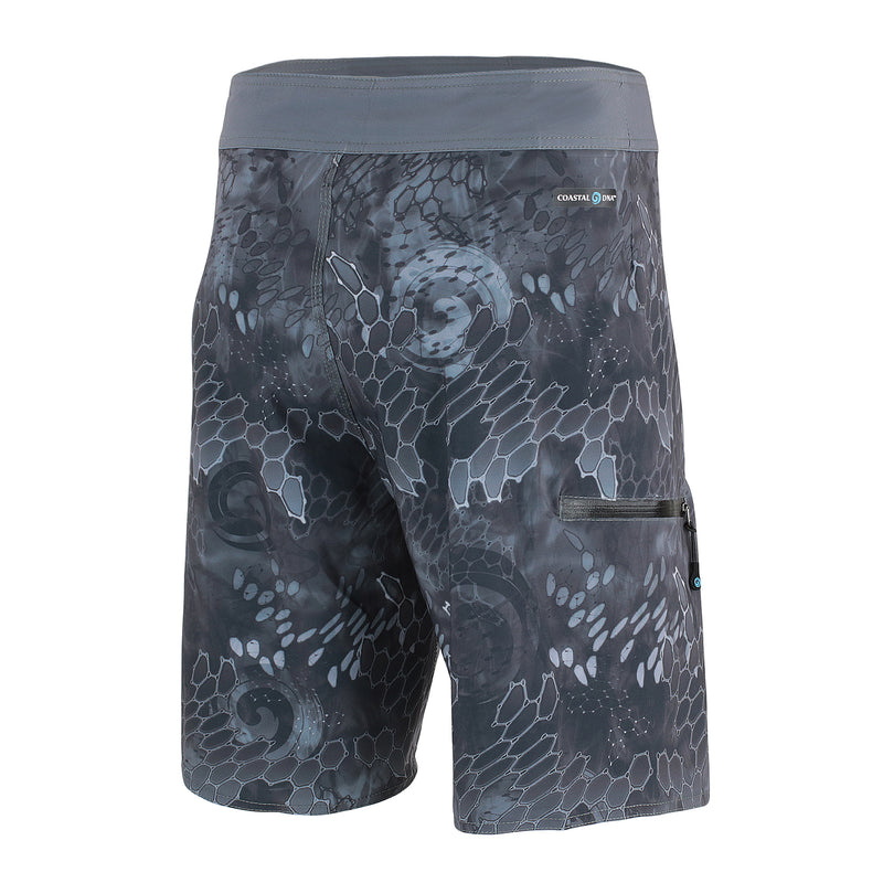 "Blue & Gray Men's 20"" Boardshorts, Quick Drying Stretch Swimwear, Back"