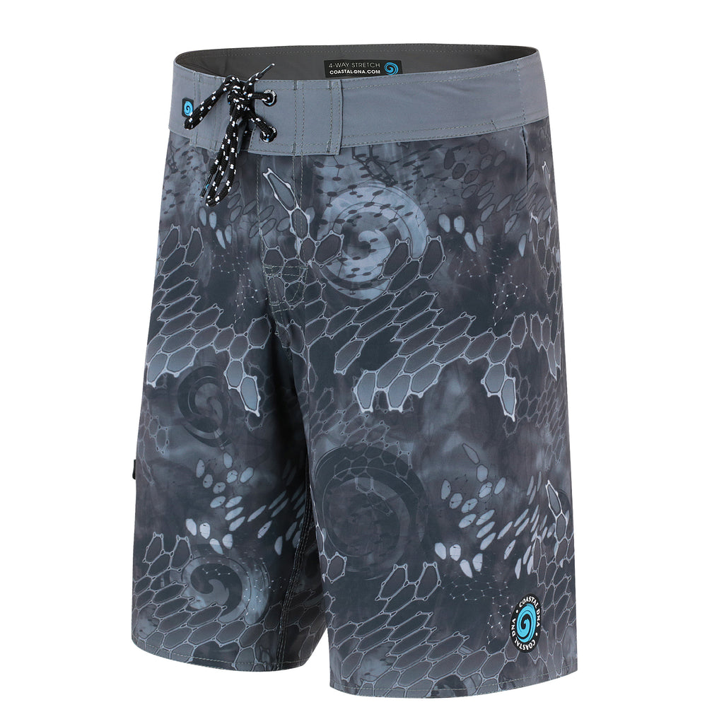 "Blue & Gray Men's 20"" Boardshorts, Quick Drying Stretch Swimwear"