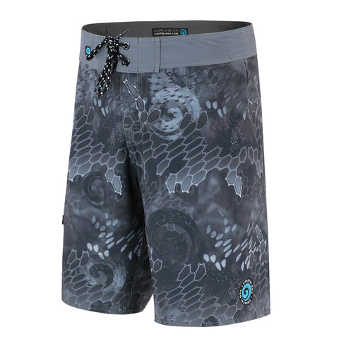 "WAVED 20"" BOARDSHORTS IN BLACK & BLUE"