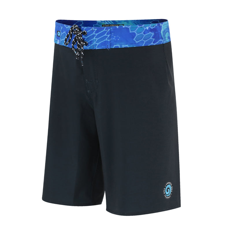 "20"" Men's Boardshorts in Black & Blue, Performance Fit Swim Trunks"