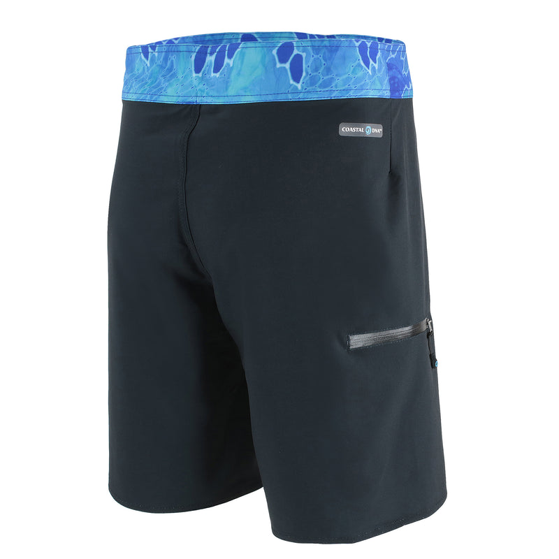 "20"" Men's Boardshorts in Black & Blue, Performance Fit Swim Trunks, Back"