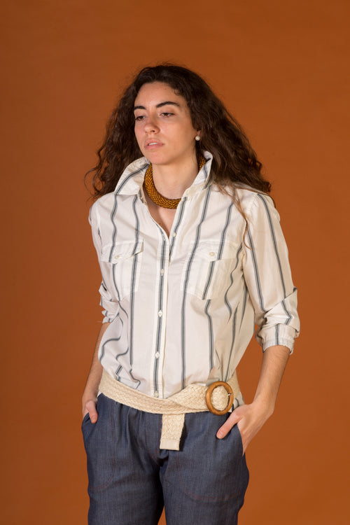 Blouse with white and blue wide stripes