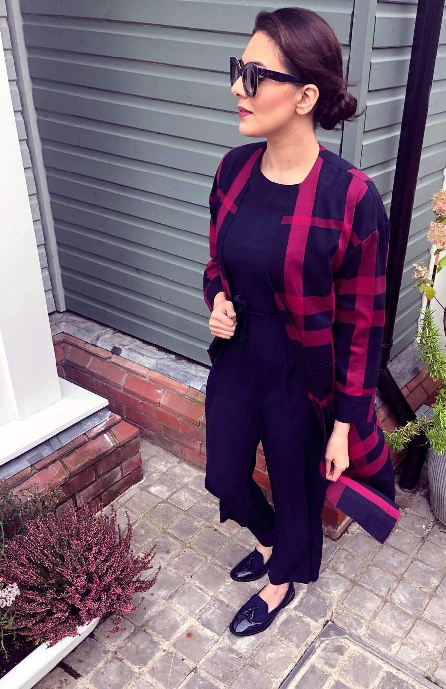 Navy and Magenta Check Coat