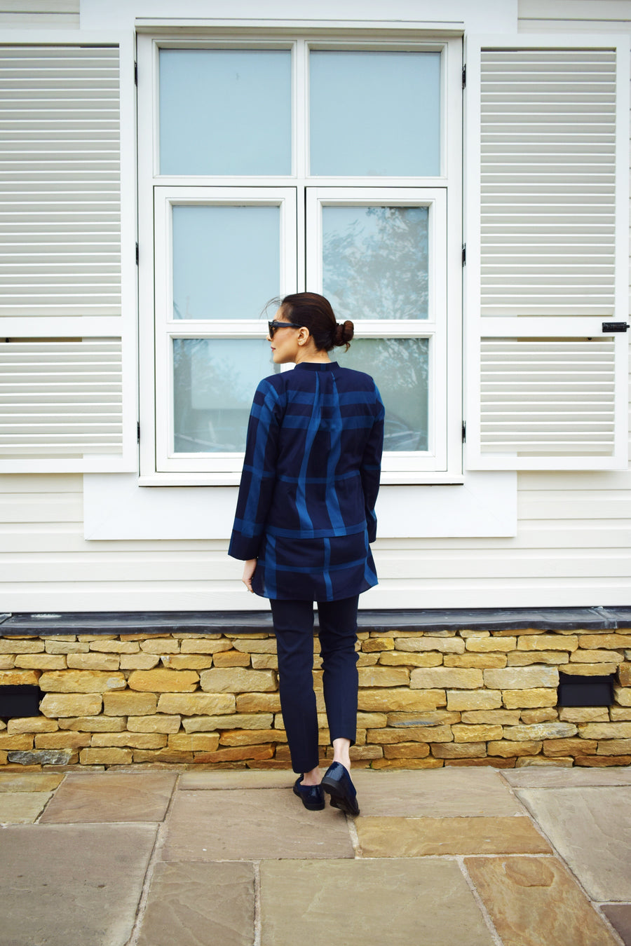 Navy Check Tunic