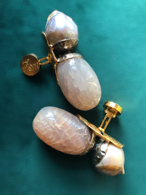 Pearl and Quartzite Cufflinks