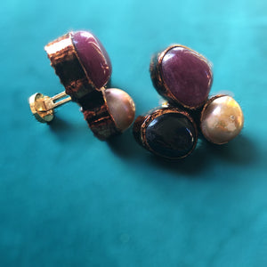 Ruby,Agate and Pearl Cufflinks