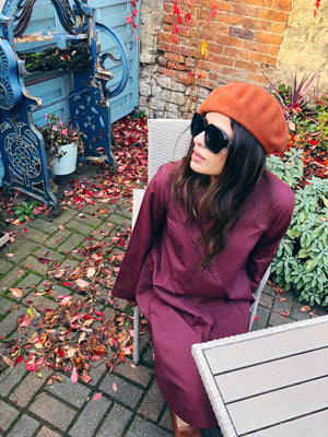 The Fold-Maroon and Orange Pinstripe Tunic