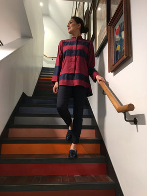 Maroon and Navy Striped Tunic