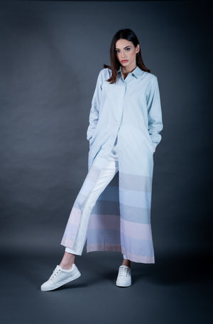 The Stripe Border Shirt Dress( Pastel)