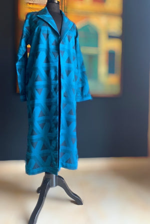 Blue Geometric Pattern Coat