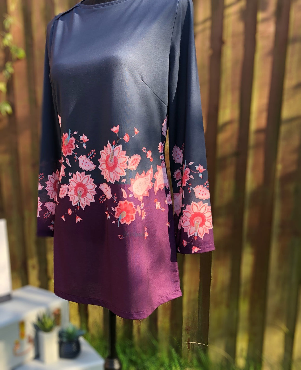 Plum and Grey Floral Print Knit Tunic