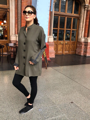 Black Button Tunic - KHAKI