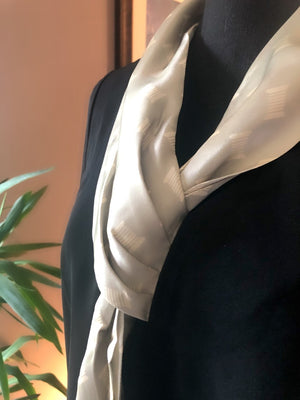 Knotted Silk Scarf Blouse (BLACK)