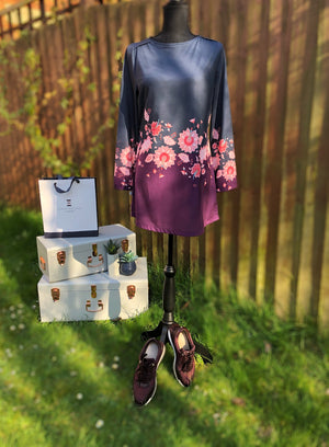 Plum and Grey Floral Print Tunic