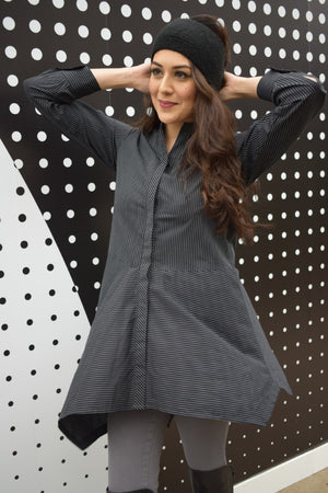 Black and Grey pinstriped Tunic