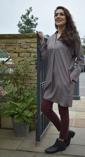 Grey and Maroon Pinstriped Tunic