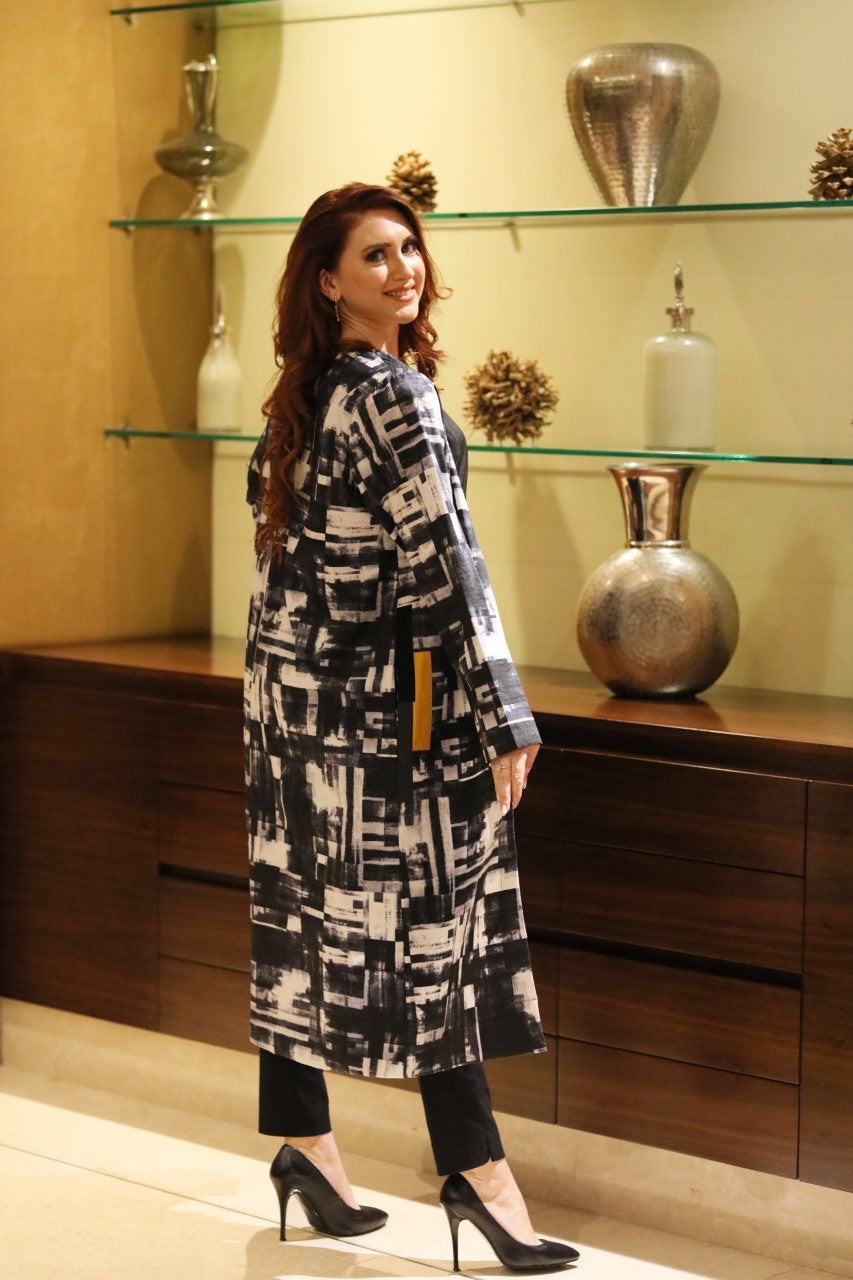 Abstract Print Coat