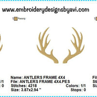 Deer Antlers Machine Embroidery Design Charts
