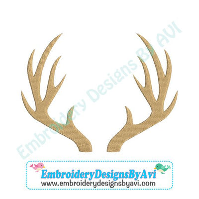 Deer Antlers Machine Embroidery Design