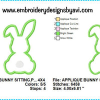 Bunny Rabbit Sitting Applique Machine Embroidery Design Chart