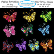 Applique Butterfly Butterflies Embroidery Designs Set