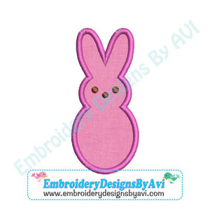 Applique Marshmallow Peep Bunny Rabbit Easter Machine Embroidery Design - Embroidery Designs By AVI