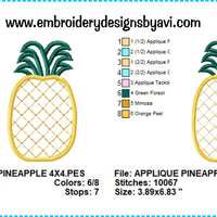 Pineapple Applique Machine Embroidery Design Charts