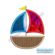 Sailboat Sail Boat Applique Machine Embroidery Design
