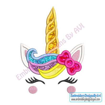 Unicorn Head Face Applique Machine Embroidery Design Download