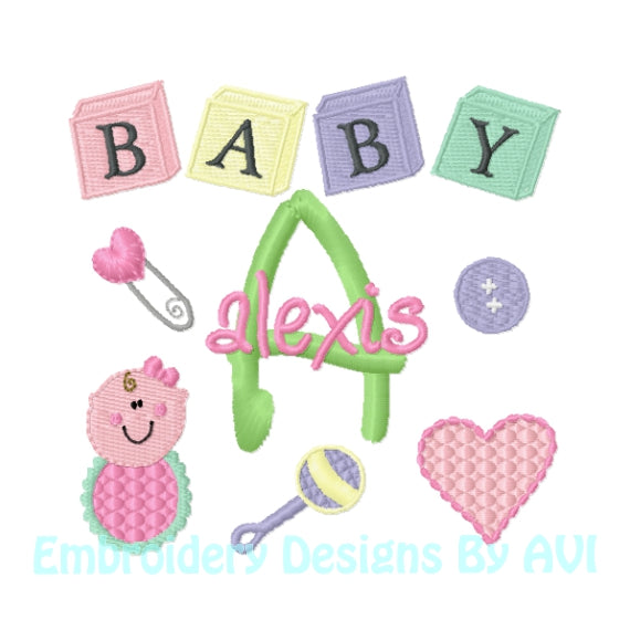 Baby Girl Monogram Embroidery Font Set Download