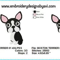 Boston Terrier Embroidery Design Charts