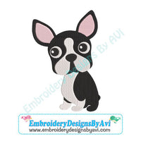 Boston Terrier Embroidery Design Download