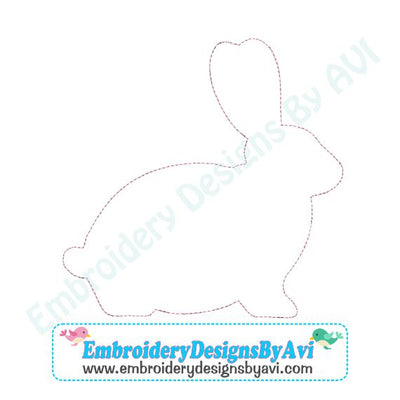 Bunny Rabbit Raggy Applique Machine Embroidery Design