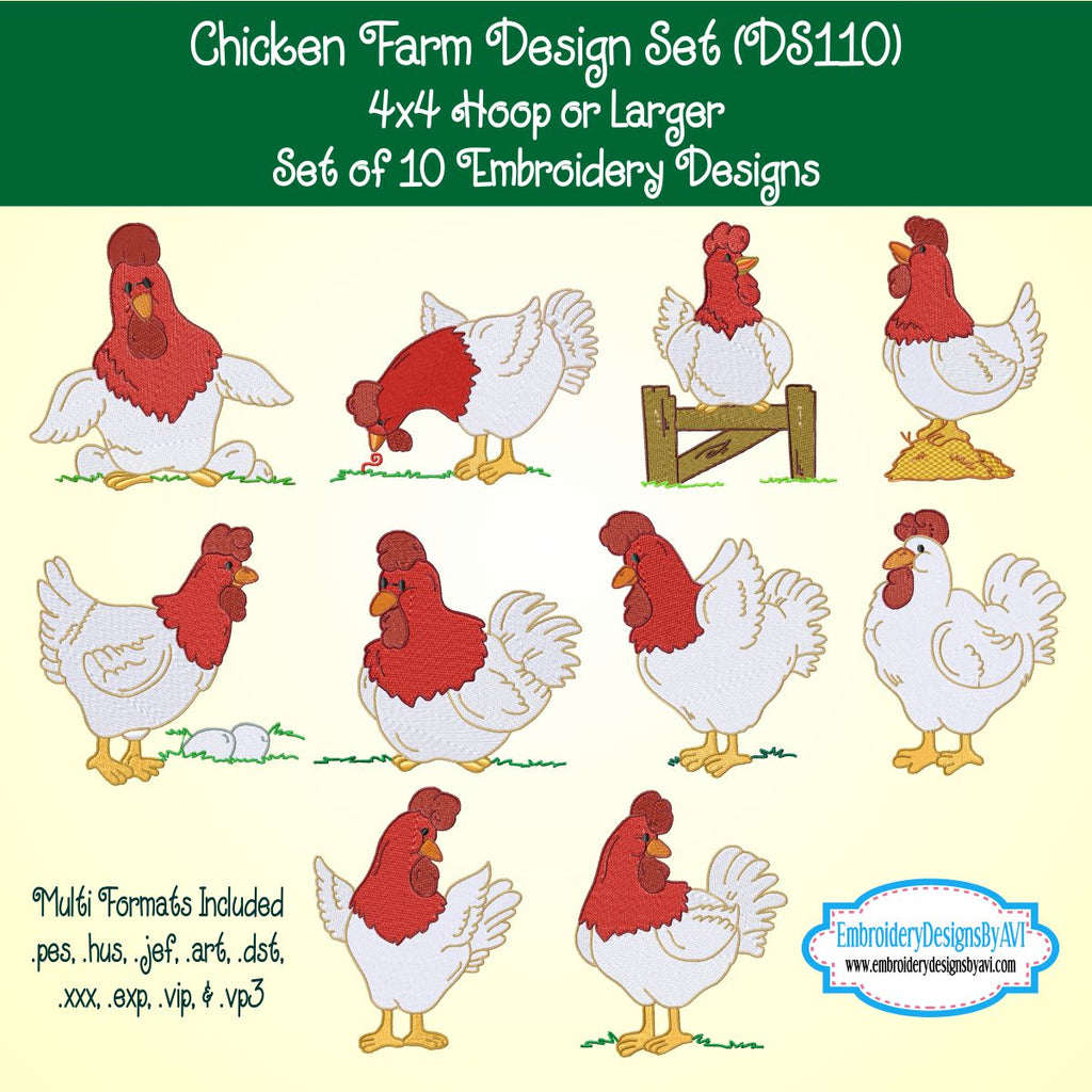 Chicken Rooster Farm Embroidery Design Set Download