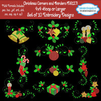 Christmas Corner and Border Machine Embroidery Designs Set