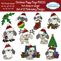 Christmas Puppy Dog Machine Embroidery Design Set Download