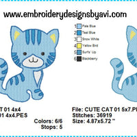 Cat Kitten Embroidery Design Chart